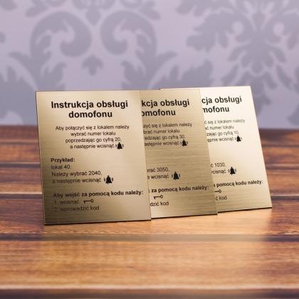 Tabliczka z instrukcją domofonu