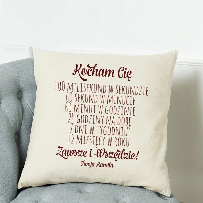 Kocham Cię zawsze - poduszka personalizowana