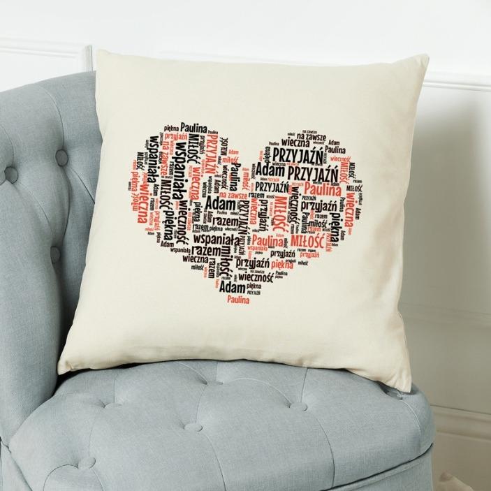 Chmura słów serce - poduszka personalizowana