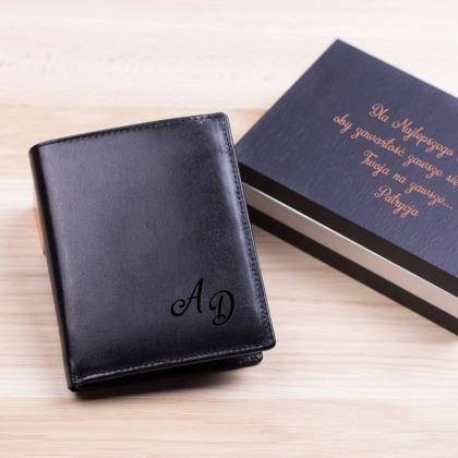 Inicjały - grawerowany portfel skórzany