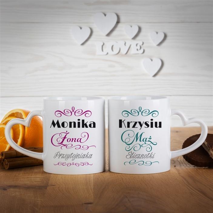 Ślicznotka i przystojniak - komplet kubków dla pary