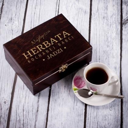 Herbata kochanej babci - grawerowane pudełko na herbatę